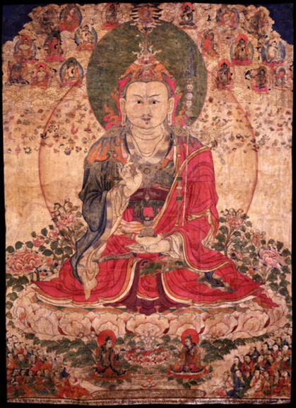 Padmasambhava, Tibet, 1800 - 1899, Ground Mineral Pigment on Cotton, Courtesy of the Rubin Museum of Art